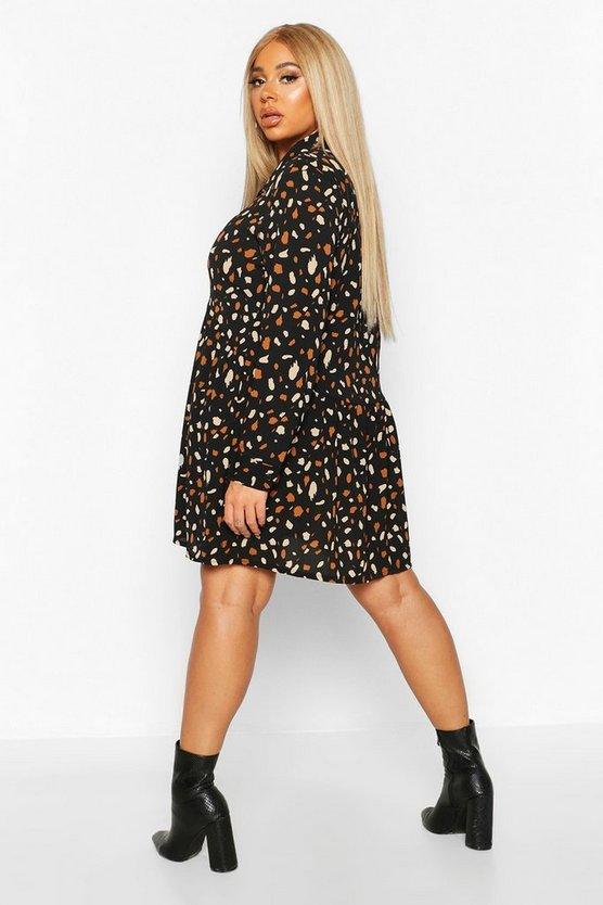 Plus Coloured Spot Shirt Smock Dress