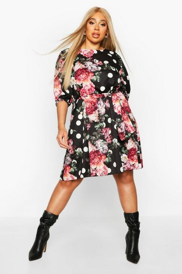 Womens Black Plus Floral Polka Dot Puff Sleeve Shift Dress