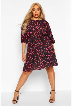 Black Plus Coloured Spot Puff Sleeve Shift Dress