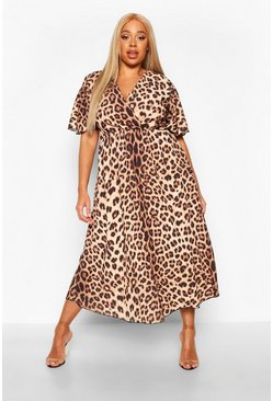 Brown Plus Leopard Wrap Angel Sleeve Maxi Dress
