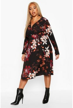 Womens Black Plus Floral Wrap Self Tie Midi Dress