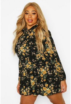 Womens Black Plus Floral Tie Neck Smock Dress