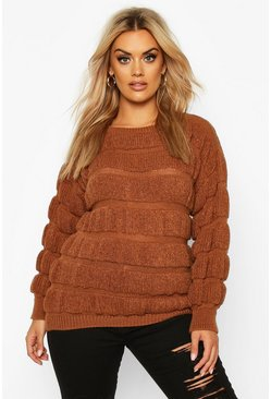 Womens Camel Plus Knitted Bobble Striped Jumper