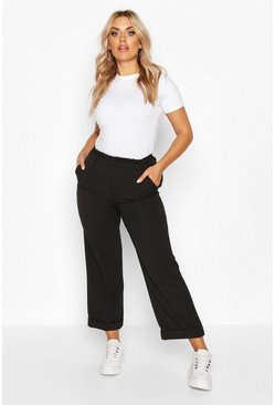 Womens Black Plus Tailored Turn Up Ankle Grazer Trouser