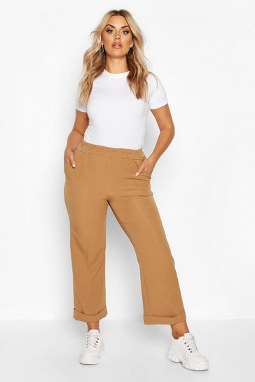 Womens Camel Plus Tailored Turn Up Ankle Grazer Trouser