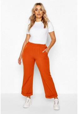 Womens Rust Plus Tailored Turn Up Ankle Grazer Trouser