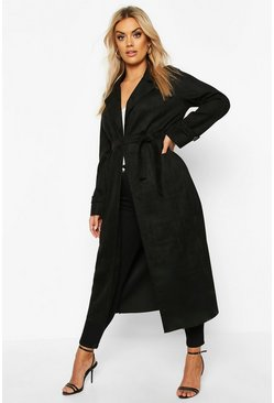 Womens Black Plus Soft Faux Suede Trench Coat