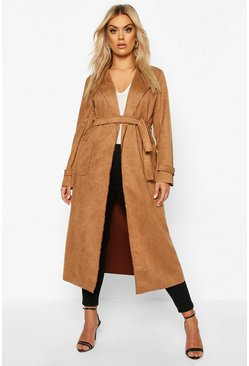 Dam Camel Plus Soft Faux Suede Trench Coat