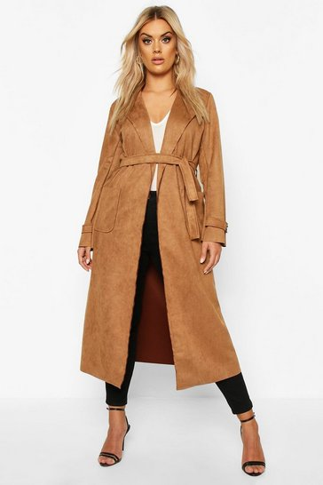 Camel Plus Soft Faux Suede Trench Coat