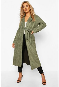Womens Khaki Plus Soft Faux Suede Trench Coat