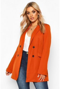 Womens Rust Plus Woven Double Breasted Tailored Blazer