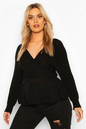 Black Plus Knitted Wrap Peplum Jumper
