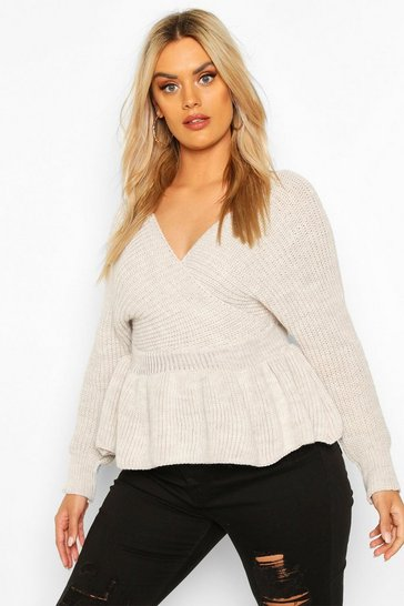 Womens Stone Plus Knitted Wrap Peplum Jumper