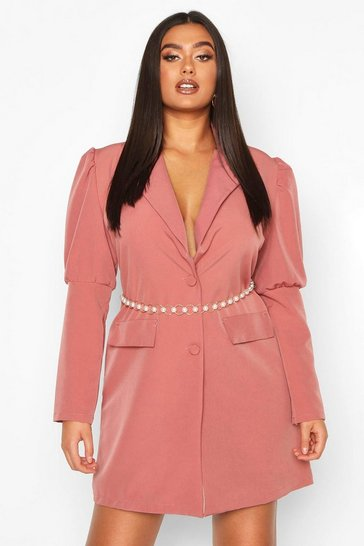 Womens Rose Plus Puff Sleeve Blazer Dress