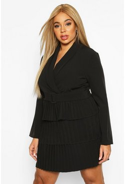 Black Plus Belted Pleated Detail Blazer Dress