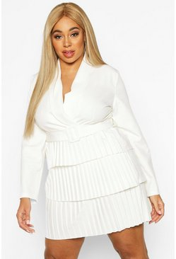 White Plus Belted Pleated Detail Blazer Dress