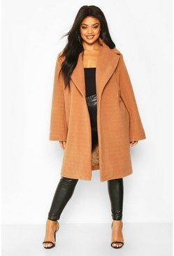 Camel Plus Soft Faux Fur Oversized Coat