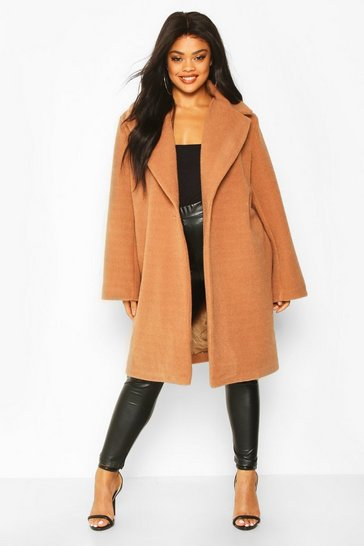 Womens Camel Plus Soft Faux Fur Oversized Coat