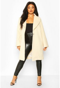 Cream Plus Soft Faux Fur Oversized Coat