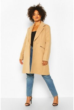 Camel Plus Zip Front Oversized Wool Look Coat