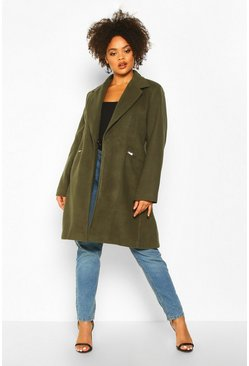 Womens Khaki Plus Zip Front Oversized Wool Look Coat