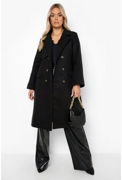 Black Plus Tailored Self Belted Longline Coat