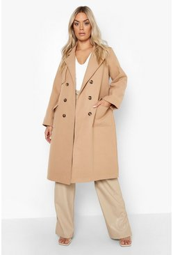 Camel Plus Tailored Self Belted Longline Coat