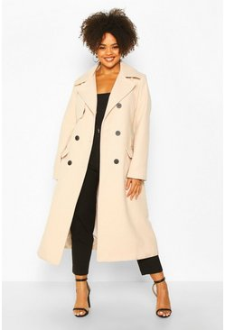 Womens Stone Plus Tailored Self Belted Longline Coat