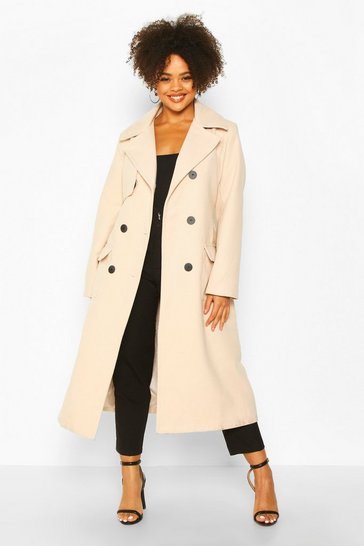 Stone Plus Tailored Self Belted Longline Coat