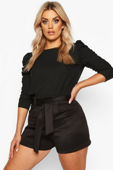 Black Plus Puff Sleeve Peplum Top