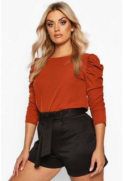 Chocolate Plus Puff Sleeve Peplum Top