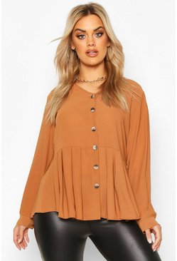 Chocolate Plus Pleated Button Detail Peplum Shirt