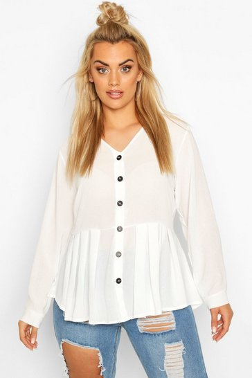 Ivory Plus Pleated Button Detail Peplum Shirt