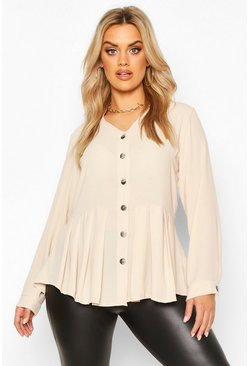 Womens Stone Plus Pleated Button Detail Peplum Shirt