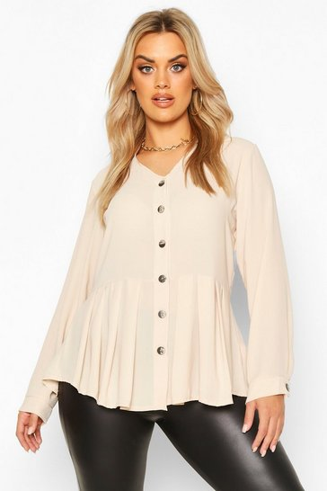 Stone Plus Pleated Button Detail Peplum Shirt