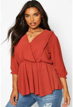 Womens Terracotta Plus Ruffle Detail Wrap Peplum Blouse