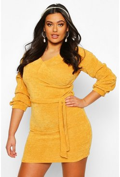 Mustard Plus Knitted Ruched Sleeve Wrap Dress