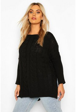 Black Plus Knitted Oversized Jumper