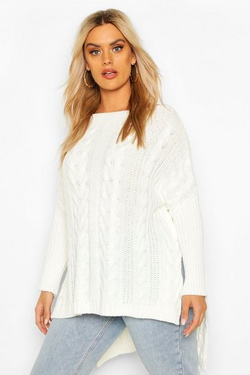 Womens Cream Plus Knitted Oversized Jumper