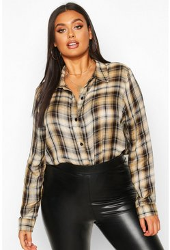 Womens Camel Plus Check Oversized Shirt