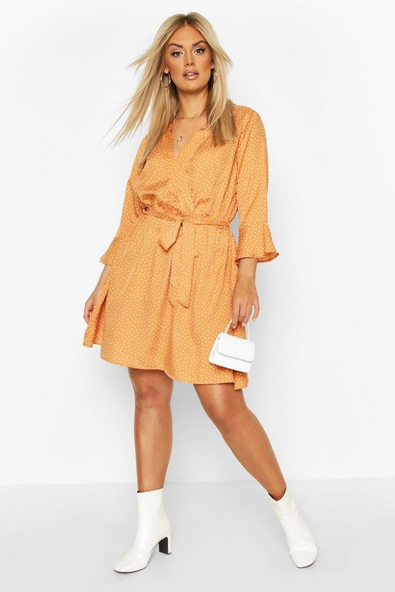 Camel Plus Ruffle Polka Dot Wrap Dress
