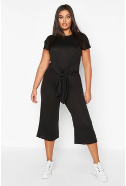 Black Plus Brushed Knit Knot Front Top + Culotte Co-ord