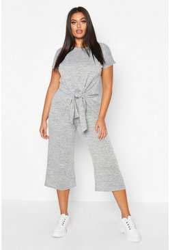 Grey marl Plus Brushed Knit Knot Front Top + Culotte Co-ord
