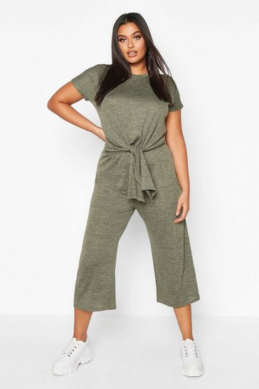 Womens Khaki Plus Brushed Knit Knot Front Top + Culotte Co-ord