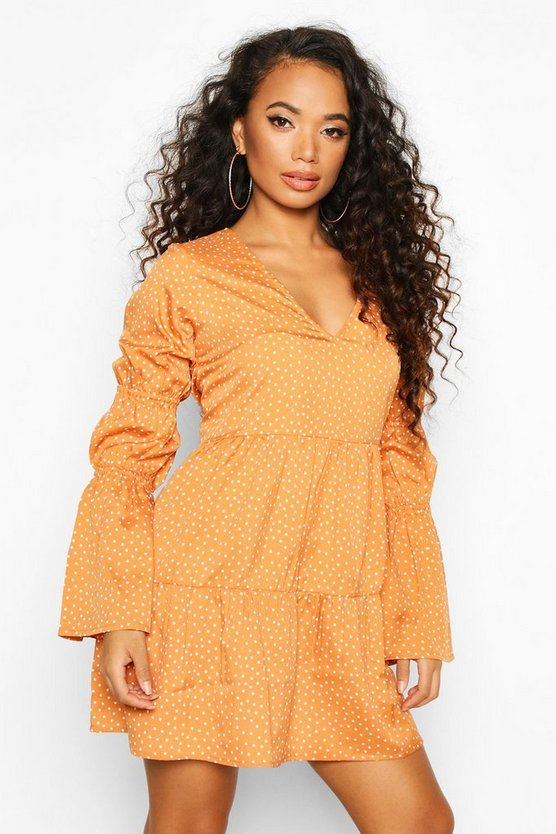 Womens Camel Petite Sheered Sleeve Polka Dot Smock Dress