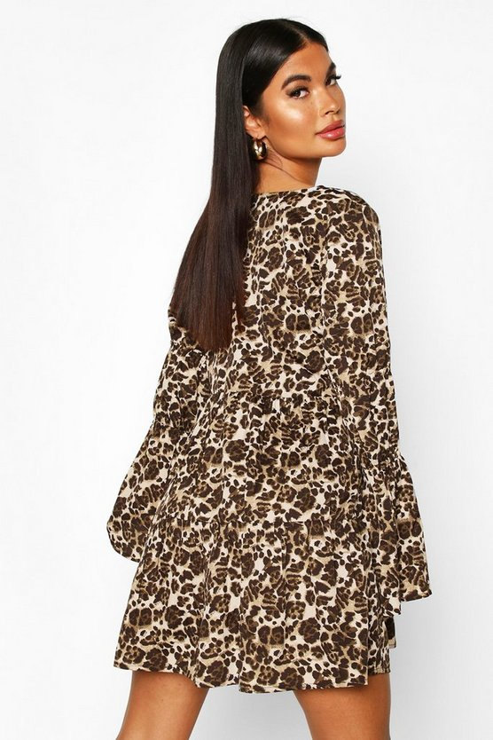 Petite Sheered Sleeve Smock Dress