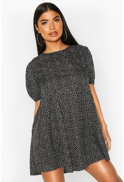 Black Petite Mini Polka Dot Smock Dress