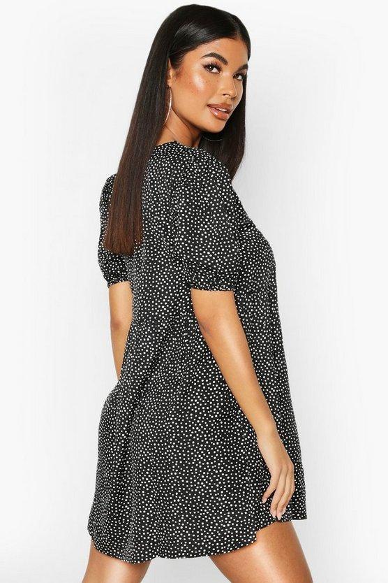 Petite Mini Polka Dot Smock Dress