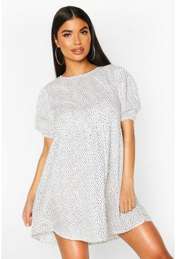 Womens White Petite Mini Polka Dot Smock Dress