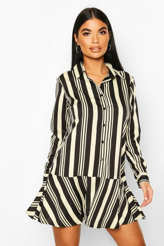 Black Petite Ruffle Hem Stripe Shirt Dress
